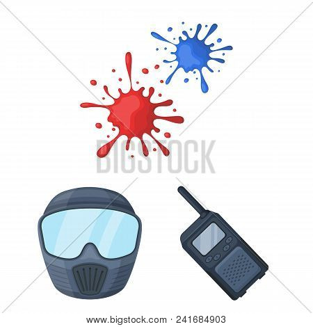Paintball, Team Game Cartoon Icons In Set Collection For Design. Equipment And Outfit Vector Symbol
