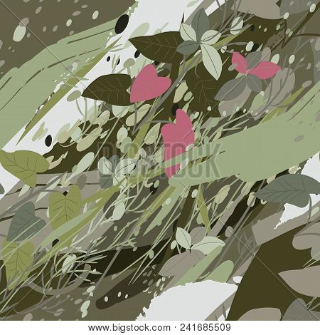 Military Camouflage Texture With Trees, Branches, Grass And Watercolor Stains. Vector Illustration.