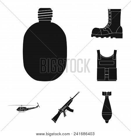 Army And Armament Black Icons In Set Collection For Design. Weapons And Equipment Vector Symbol Stoc