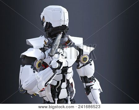 3d Rendering Of A Futuristic Robot Police Or Soldier Holding A Gun To His Chin, Ready To Self-destru