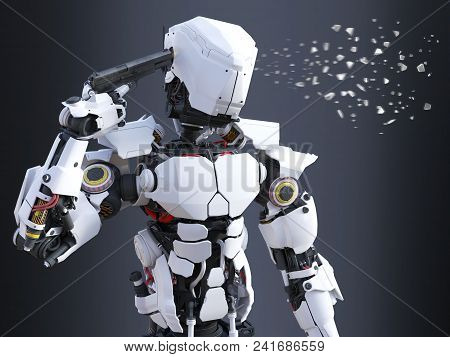3d Rendering Of A Futuristic Robot Police Or Soldier Holding A Gun To His Head And Pulling The Trigg