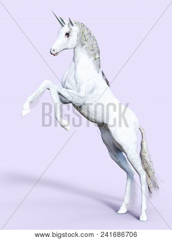 3d Rendering Of A White Fairy Tale Fantasy Unicorn Rearing. Purple Background.