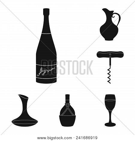 Wine Products Black Icons In Set Collection For Design. Equipment And Production Of Wine Vector Symb