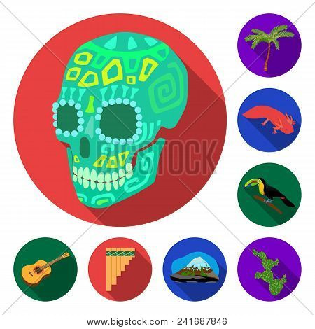 Country Mexico Flat Icons In Set Collection For Design. Mexico And Landmark Vector Symbol Stock  Ill