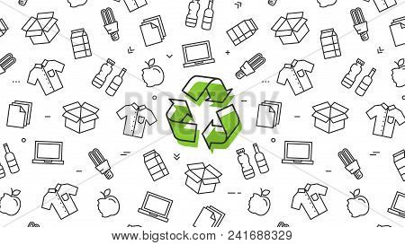 Recycle Sign With Recyclable Products Vector Illustration. Recyclable Things: Lamp, Bottles And Pape