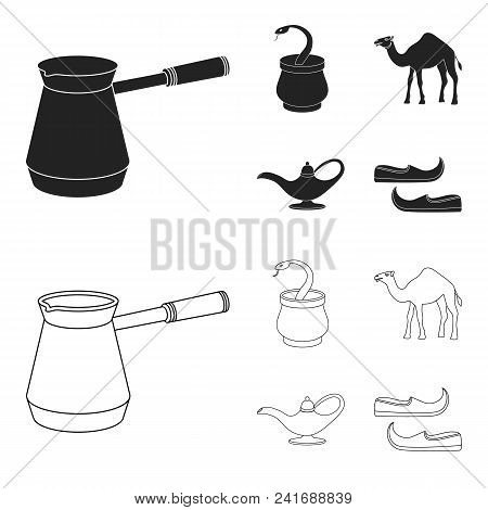 Cezve, Oil Lamp, Camel, Snake In The Basket.arab Emirates Set Collection Icons In Black, Outline Sty