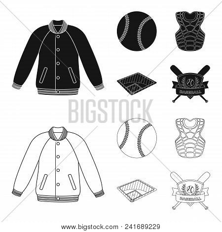 Playground, Jacket, Ball, Protective Vest. Baseball Set Collection Icons In Black, Outline Style Vec