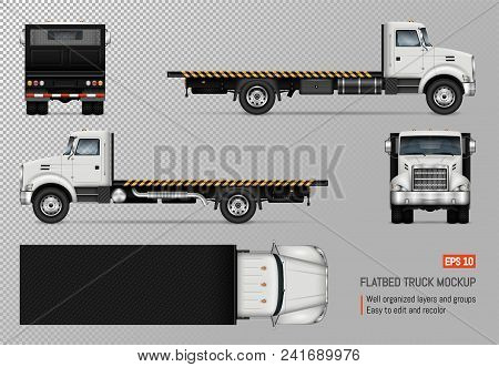 Flatbed Truck Vector Mockup. Isolated Template Of The White Lorry On Transparent Background For Vehi