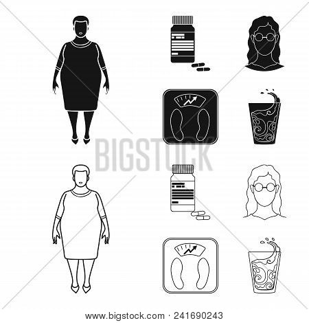 Full Woman, A Girl With Glasses, A Scales With Exquisite Result. Diabeth Set Collection Icons In Bla