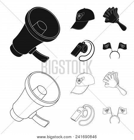 Megaphone, Whistle And Other Attributes Of The Fans.fans Set Collection Icons In Black, Outline Styl