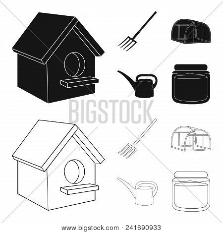 Poultry House, Pitchfork, Greenhouse, Watering Can.farm Set Collection Icons In Black, Outline Style
