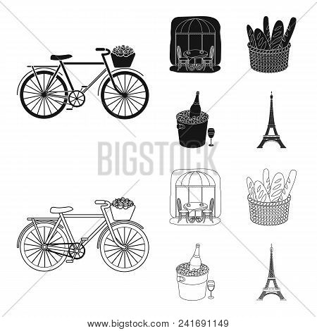 Bicycle, Transport, Vehicle, Cafe .france Country Set Collection Icons In Black, Outline Style Vecto