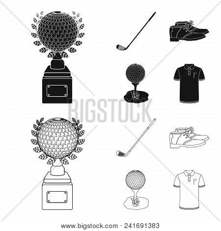 Cup, Golf Club, Ball On The Stand, Golfer Shoes.golf Club Set Collection Icons In Black, Outline Sty