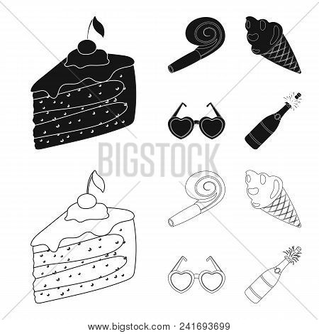Refreshments And Other Accessories At The Party.party And Partits Set Collection Icons In Black, Out