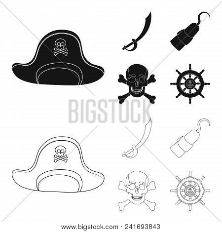 Pirate, Bandit, Cap, Hook .pirates Set Collection Icons In Black, Outline Style Vector Symbol Stock