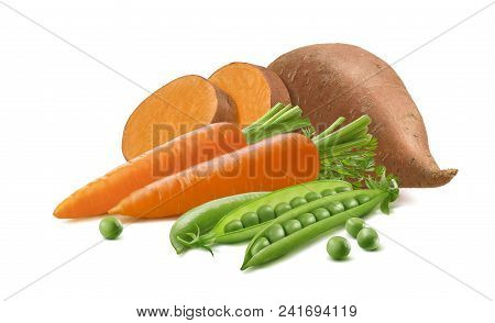 Sweet Potato Or Yams, Carrot And Green Peas Isolated On White Background. Package Design Element Wit