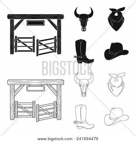 Gates, A Bull Skull, A Scarf Around His Neck, Boots With Spurs. Rodeo Set Collection Icons In Black,