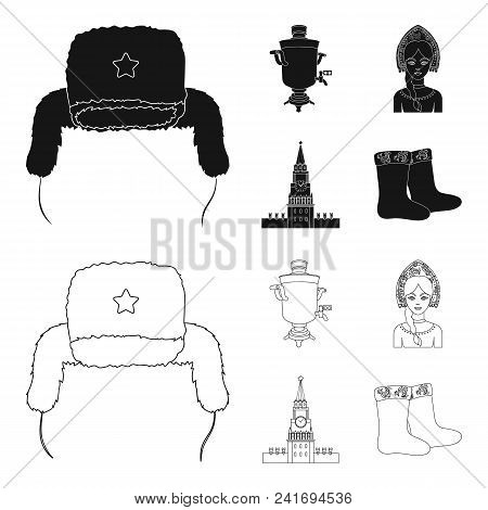 Clothes, Woman, Kremlin, Building .russia Country Set Collection Icons In Black, Outline Style Vecto