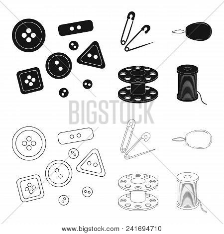 Buttons, Pins, Coil And Thread.sewing Or Tailoring Tools Set Collection Icons In Black, Outline Styl
