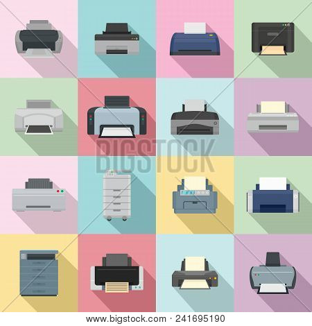 Printer Office Copy Document Icons Set. Flat Illustration Of 16 Printer Office Copy Document Vector