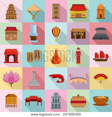 Vietnam Travel Tourism Icons Set. Flat Illustration Of 25 Vietnam Travel Tourism Vector Icons For We