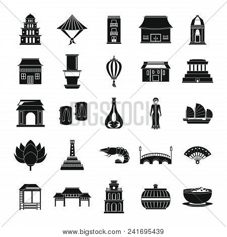 Vietnam Travel Tourism Icons Set. Simple Illustration Of 25 Vietnam Travel Tourism Vector Icons For
