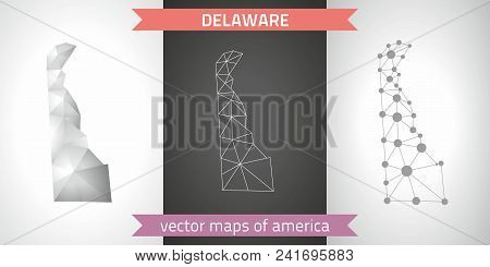 Delaware Set Of Grey And Silver Mosaic 3d Polygonal Maps. Graphic Vector Triangle Geometry Outline S