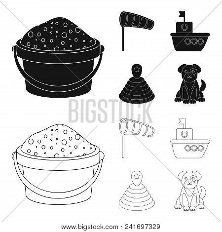 Children Toy Black, Outline Icons In Set Collection For Design. Game And Bauble Vector Symbol Stock