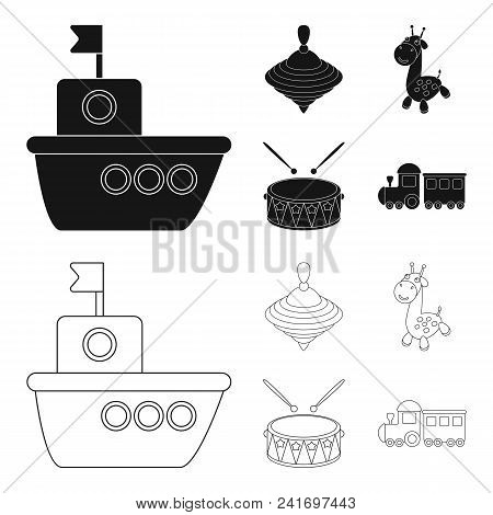Ship, Yule, Giraffe, Drum.toys Set Collection Icons In Black, Outline Style Vector Symbol Stock Illu