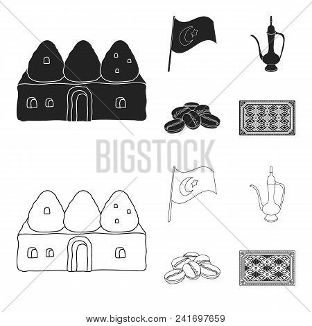 House Hive, National Flag, Coffee Pot Copper, Grains Coffee.turkey Set Collection Icons In Black, Ou