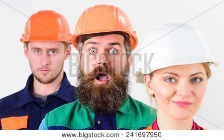 Different People In Team Of Architects, Builders, Labourers, Surprised And Smiling Faces, Isolated W