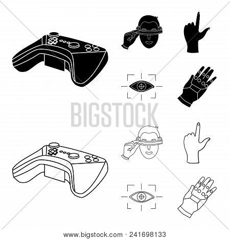 Virtual, Reality, Helmet, Computer, Technology, .virtual Reality Set Collection Icons In Black, Outl