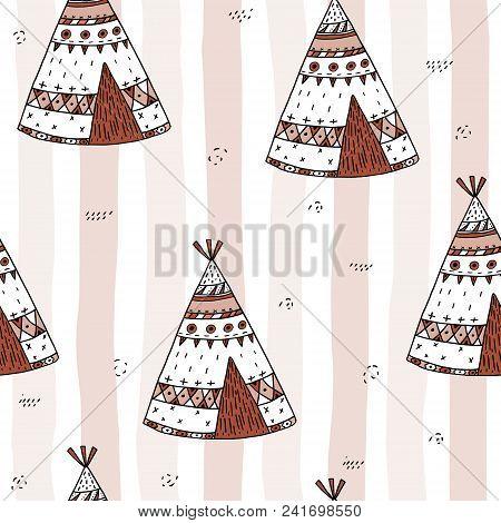Hand Drawn Cute Seamless Pattern With Tee Pee Wigwam, North American Indian Tee Pee