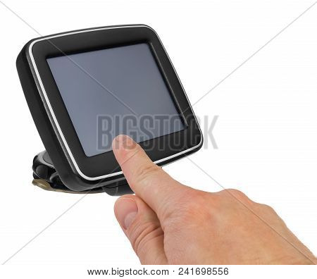 Gps Car Navigation With Handle. The Finger Indicates The Point On The Satellite Navigation Screen.