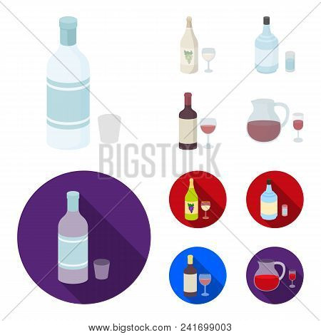 White Wine, Red Wine, Gin, Sangria.alcohol Set Collection Icons In Cartoon, Flat Style Vector Symbol