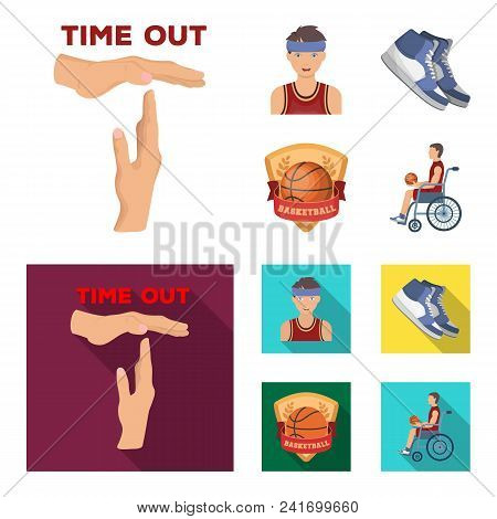 Basketball And Attributes Cartoon, Flat Icons In Set Collection For Design.basketball Player And Equ