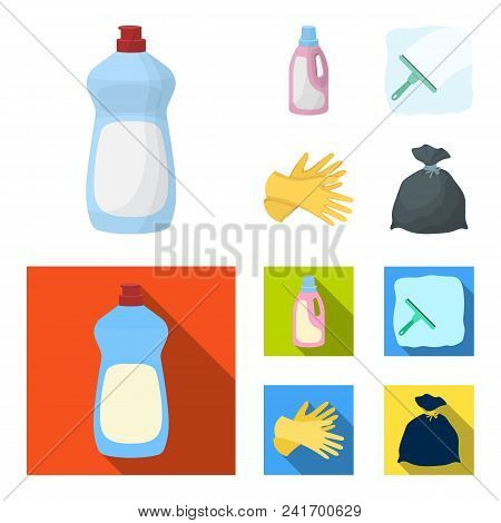 Gel For Washing In A Pink Bottle, Yellow Gloves For Cleaning, A Brush For Glass, A Black Bag For Gar