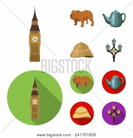 Breed Dog, Teapot, Brewer .england Country Set Collection Icons In Cartoon, Flat Style Vector Symbol