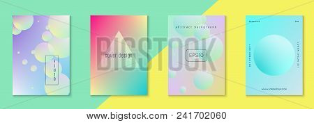 Cover Fluid Set With Round Shape. Gradient Circles On Holographic Background. Modern Hipster Templat