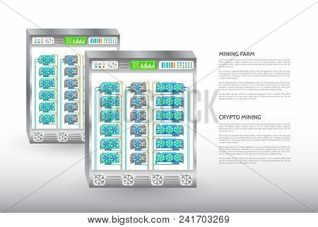 Cryptocurrency Mining Farm. Server Room Rack. Computer Equipment For Mining Cryptocurrency.