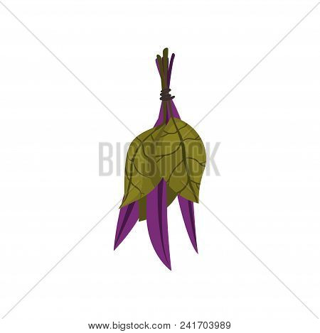Bundle Of Green And Purple Leaves. Herbal Ingredients For Spa Procedures. Alternative Medicine. Cart