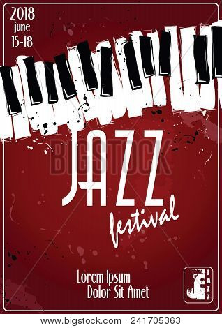 Jazz Music Festival, Poster Background Template. Keyboard With Music Notes.