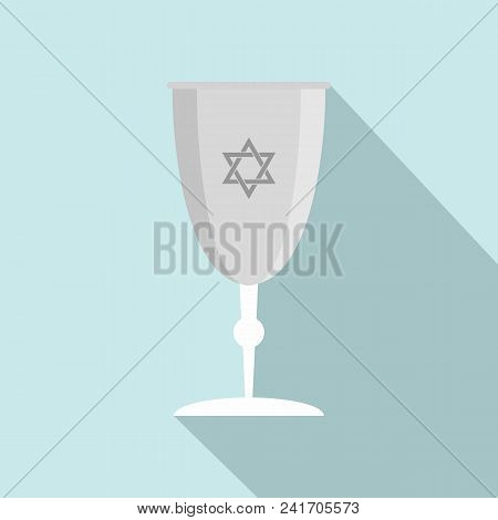 Silver judaism cup icon. Flat illustration of silver judaism cup vector icon for web design poster