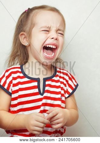 Child With Tears Falling Down Girls Young Face, Unhappy Moments Of Life, Young Lady, Upset Of Someth