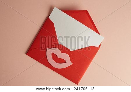 Mockup Envelope And White Blank Sheet On Empty Pink Color Desk. Business Empty Mock-up Background Fo