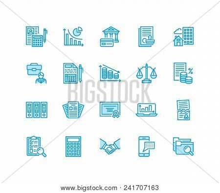 Financial Accounting Flat Line Icons. Bookkeeping, Tax Optimization, Firm, Accountant Outsourcing, P