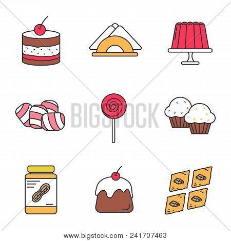 Confectionery Color Icons Set. Tiramisu, Jelly Pudding, Table Napkins, Marshmallow, Lollipop, Cupcak