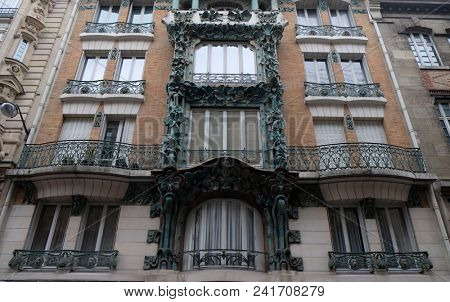 PARIS, FRANCE - JANUARY 07: Detail of the facade of a building in Art Nouveau Style in Paris, on January 07, 2018.
