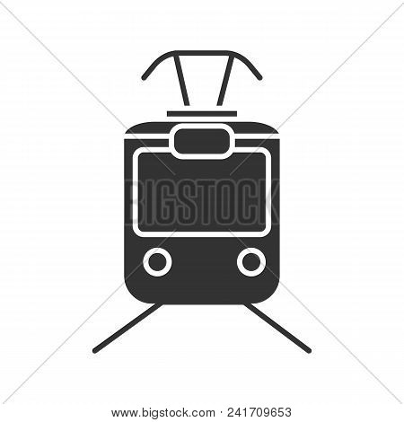 Tram Glyph Icon. Silhouette Symbol. Tramcar, Streetcar. Trolley Car. Negative Space. Vector Isolated