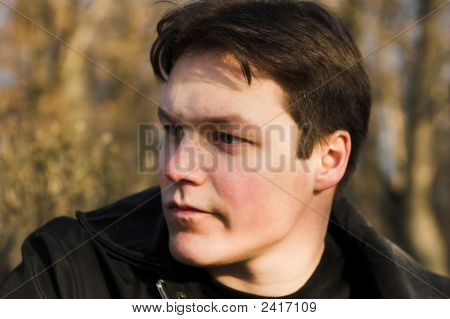Brunet boy thoughtful portrait in the forest poster